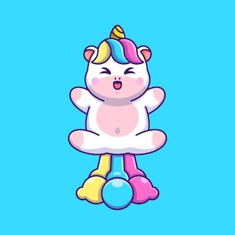 Simpatico unicorno che vola con un cartone arcobaleno