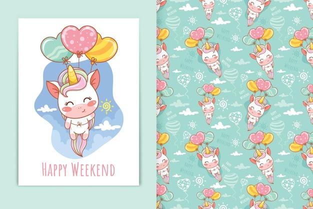 Carino, unicorno, presa a terra, palloncino, cartone animato, illustrazione, e, seamless, modello, set