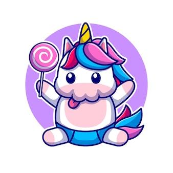 Unicorno sveglio del bambino che tiene l'illustrazione dell'icona del fumetto della caramella. icona di cibo animale isolato. stile cartone animato piatto Vettore Premium