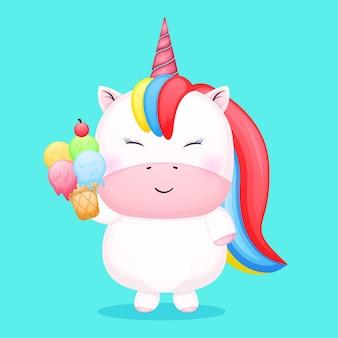 Simpatico unicorno che tiene in mano un fumetto di gelato