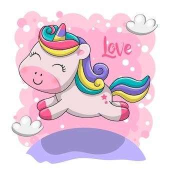 Illustrazione di unicorno bambino carino.