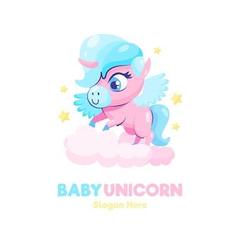 Modello di logo di unicorno bambino carino