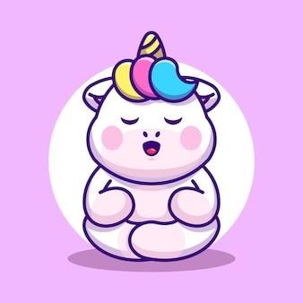 Fumetto di meditazione di unicorno sveglio del bambino Vettore Premium