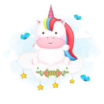 Simpatico unicorno bambino seduto sul fumetto nuvola cloud