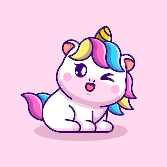 Simpatico cartone animato di unicorno bambino seduto