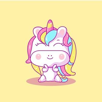 Illustrazione vettoriale di unicorno bambino carino