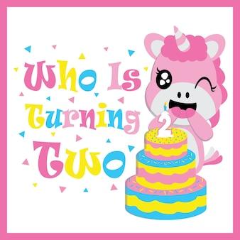 Cute unicorno del bambino con il fumetto di vettore della torta di compleanno, cartolina di compleanno, carta da parati e biglietto di auguri, disegno della maglietta per i bambini