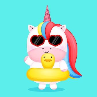 Simpatico unicorno con boa da nuoto cartone animato estivo