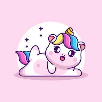 Fumetto sveglio di posa di yoga dell'unicorno del bambino