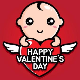 Bambino carino con auguri di san valentino felice