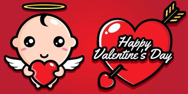 Bambino carino con auguri di buon san valentino