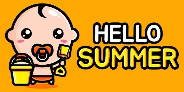 Bambino carino con banner di auguri estivi