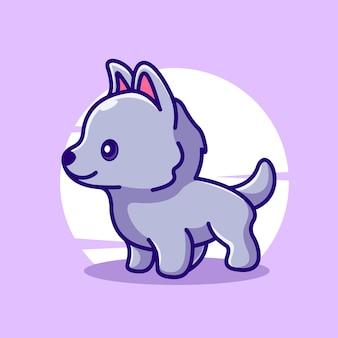 Icona di vettore dell'illustrazione del carattere della mascotte del lupo sveglio del bambino