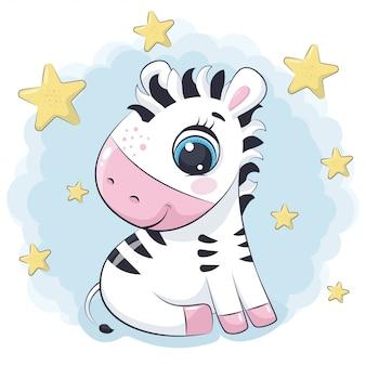 Zebra sveglia del bambino con le stelle. illustrazione per baby shower, cartolina d'auguri, invito a una festa, stampa t-shirt abiti moda.