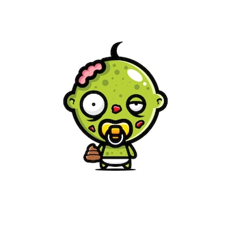 Disegno vettoriale carino bambino zombie