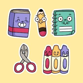 Carino torna a materiale scolastico matita, libro, disegno a colori dei cartoni animati