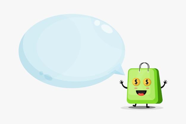 Mascotte borsa carina con discorso bolla