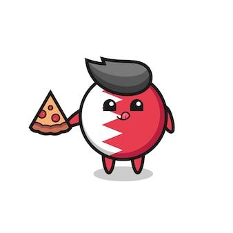 Simpatico cartone animato distintivo bandiera bahrain che mangia pizza, design in stile carino per maglietta, adesivo, elemento logo