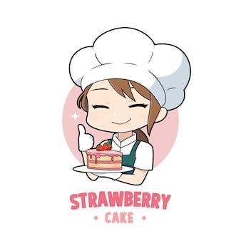 Simpatico cartone animato della ragazza dello chef di panetteria che tiene un personaggio del logo della mascotte della torta di fragole strawberry