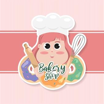 Disegno del modello di logo negozio di panetteria carino. panetteria food label, pasticceria dolce