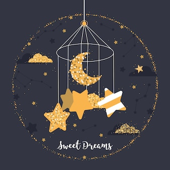 Pallina carina con stelle, luna, nuvole, costellazioni