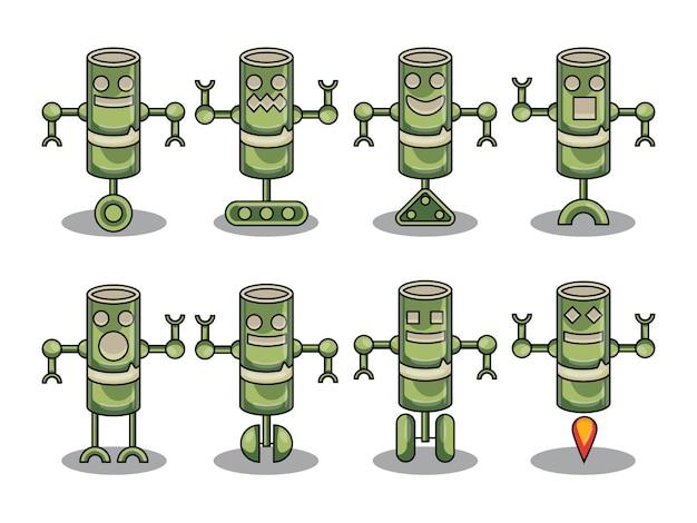 Simpatico disegno vettoriale di bambù robot carattere