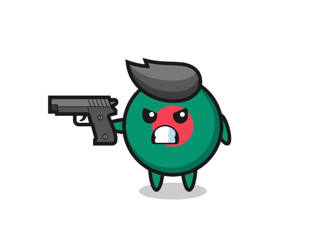 Il simpatico personaggio distintivo della bandiera del bangladesh spara con una pistola, un design in stile carino per maglietta, adesivo, elemento logo