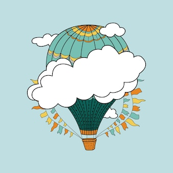 Banner carino con mongolfiere, nuvole e posto per il tuo testo