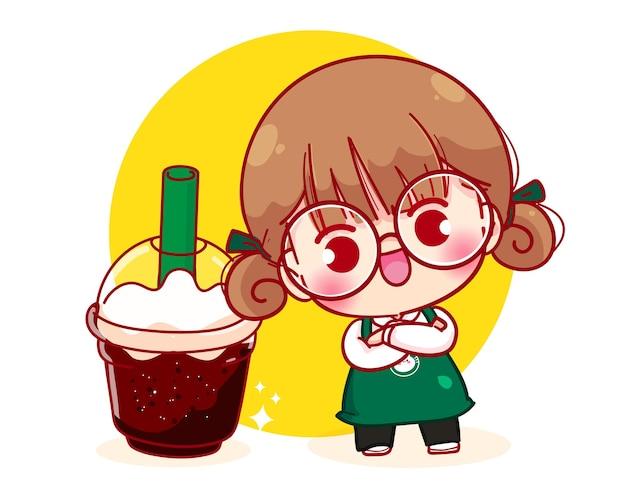 Barista sveglio in grembiule con l'illustrazione del personaggio dei cartoni animati del caffè
