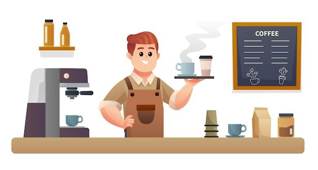 Barista carino che trasporta caffè con vassoio all'illustrazione del bancone della caffetteria