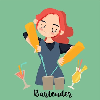 Simpatico barista che lavora per preparare un cocktail?