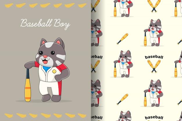 Modello e carta senza cuciture del gatto sveglio di baseball