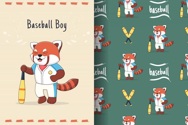 Modello senza cuciture sveglio del panda rosso di baseball e carta