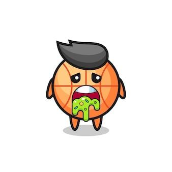 Il simpatico personaggio da basket con vomito, design in stile carino per maglietta, adesivo, elemento logo