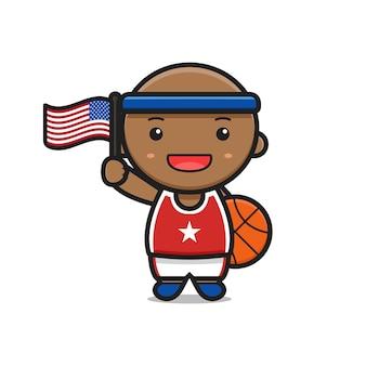 Simpatico cartone animato del giocatore di basket che tiene la bandiera degli stati uniti d'america e un'illustrazione di pallacanestro