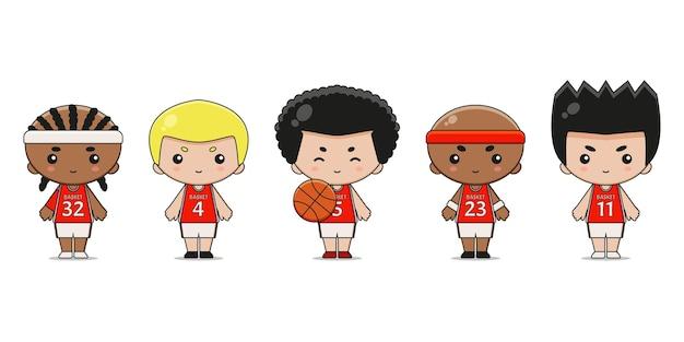 Simpatico personaggio mascotte del giocatore di basket. disegno isolato su sfondo bianco.