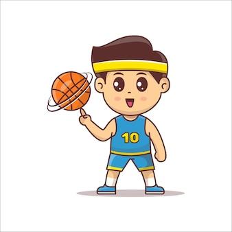 Simpatico personaggio della mascotte del giocatore di basket che gioca a palla. grafica vettoriale di giocatore di basket kawaii