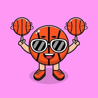 Carino basket indossando occhiali da sole giocare a palla fumetto illustrazione