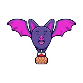 Simpatico pipistrello portare frutta fumetto icona illustrazione