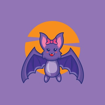 Illustrazione sveglia del fumetto del pipistrello. concetto dell'icona di hallowen.