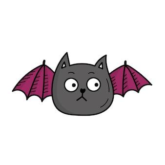 Simpatico gatto pipistrello. decorazioni animali divertenti per halloween. illustrazione in stile scarabocchio