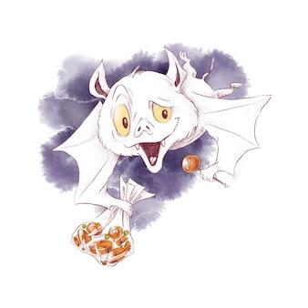 Illustrazione dell'acquerello del carattere del pipistrello sveglio per halloween