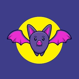Carino pipistrello scuoiamento nell'illustrazione dell'icona del fumetto di notte
