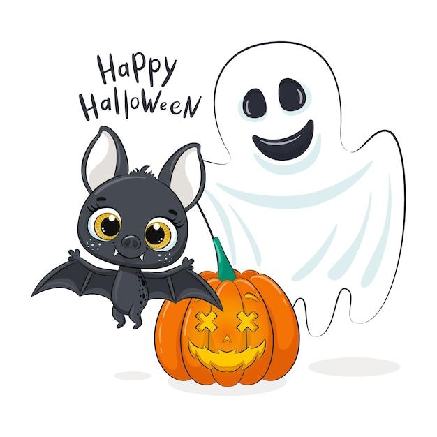 Simpatico pipistrello, fantasma e zucca. illustrazione di halloween felice.
