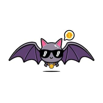 Simpatico cartone animato mascotte pipistrello