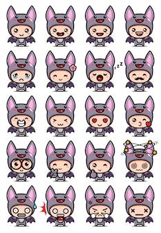 Simpatico set di design mascotte pipistrello