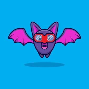 Illustrazione dell'icona del fumetto degli occhiali da portare del pipistrello sveglio