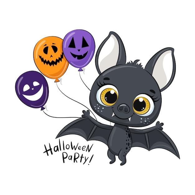 Pipistrello carino con palloncino. illustrazione di halloween felice.