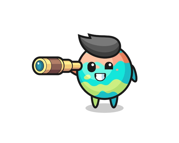 Il simpatico personaggio delle bombe da bagno tiene in mano un vecchio telescopio, un design in stile carino per maglietta, adesivo, elemento logo