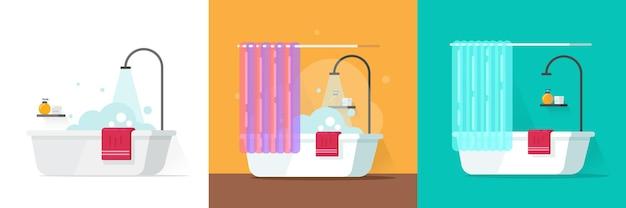 Simpatica vasca da bagno spa con doccia bolle d'acqua schiuma o schiuma di sapone vettore piatto fumetto illustrazione